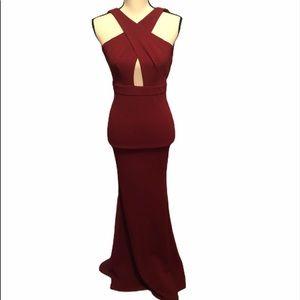 FashioNova red Maxi dress XXs plunging
